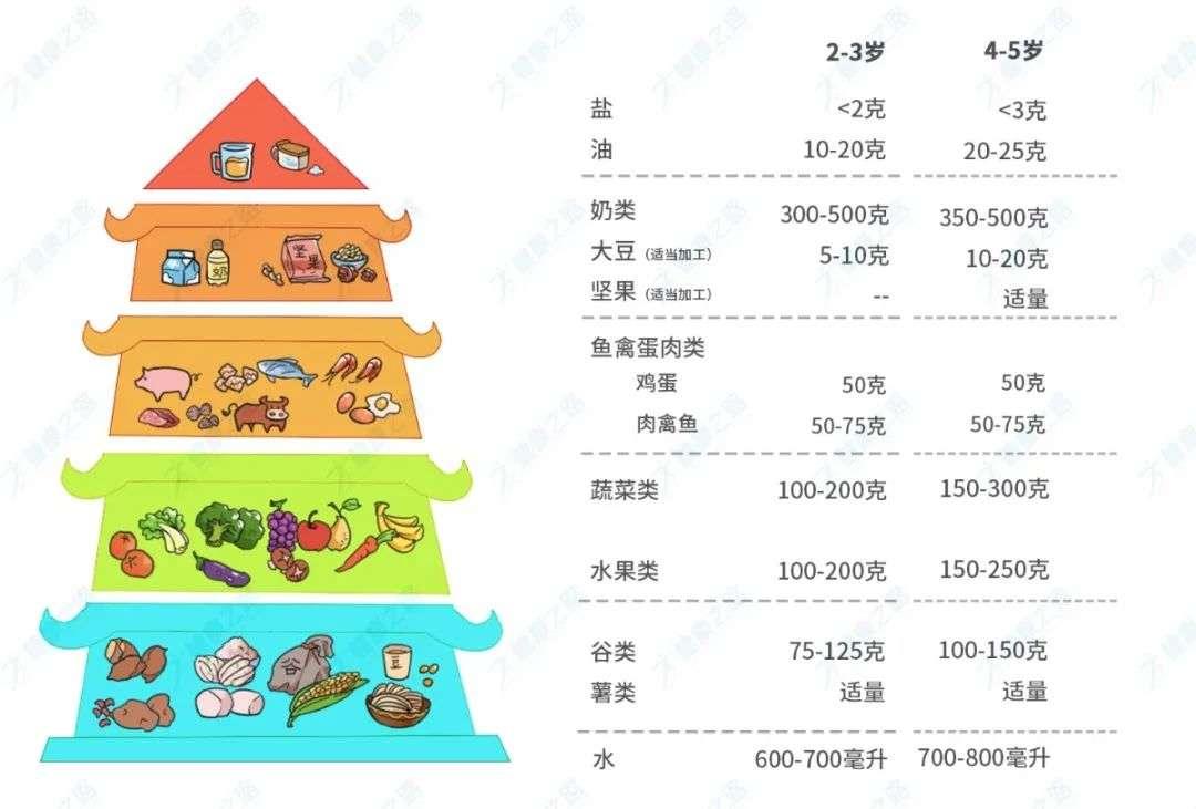 中国学龄前儿童平衡膳食建议